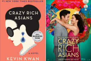 Crazy Rich Asians book cover and movie cover