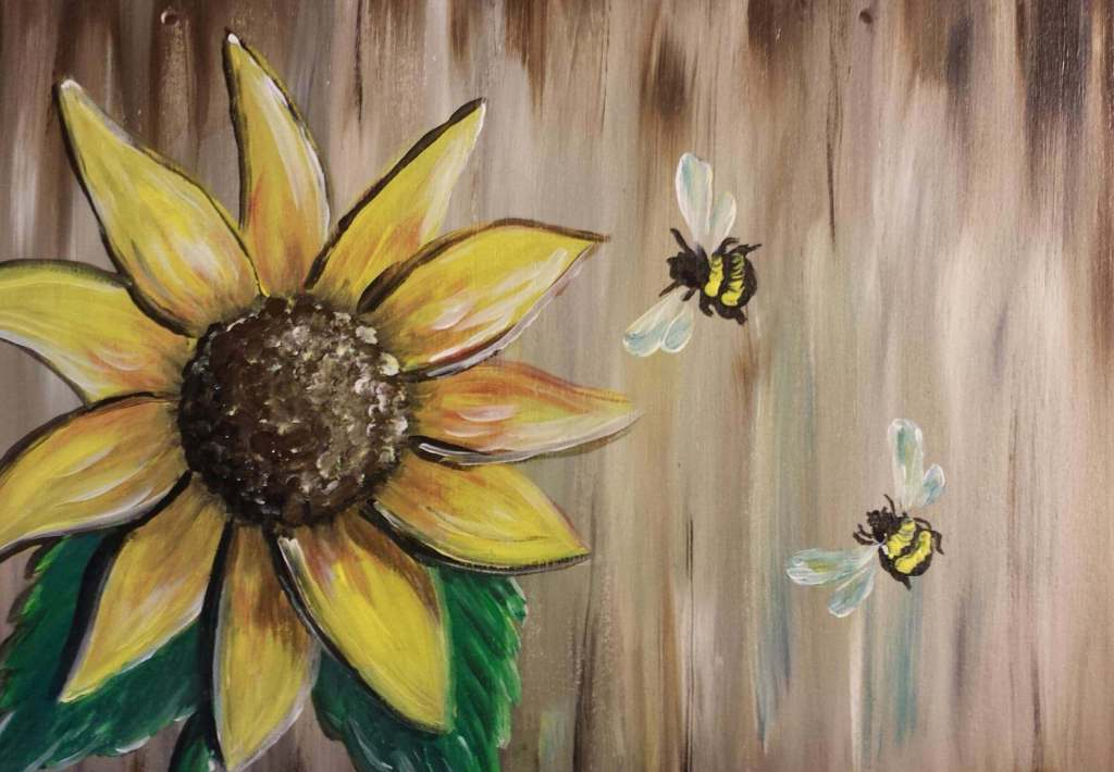 painting of sunflower and bumblebees
