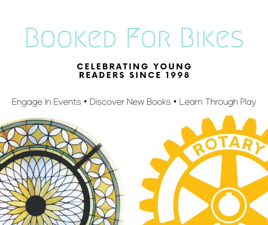 Books For Bikes title above the Library's and the Rotary's logos