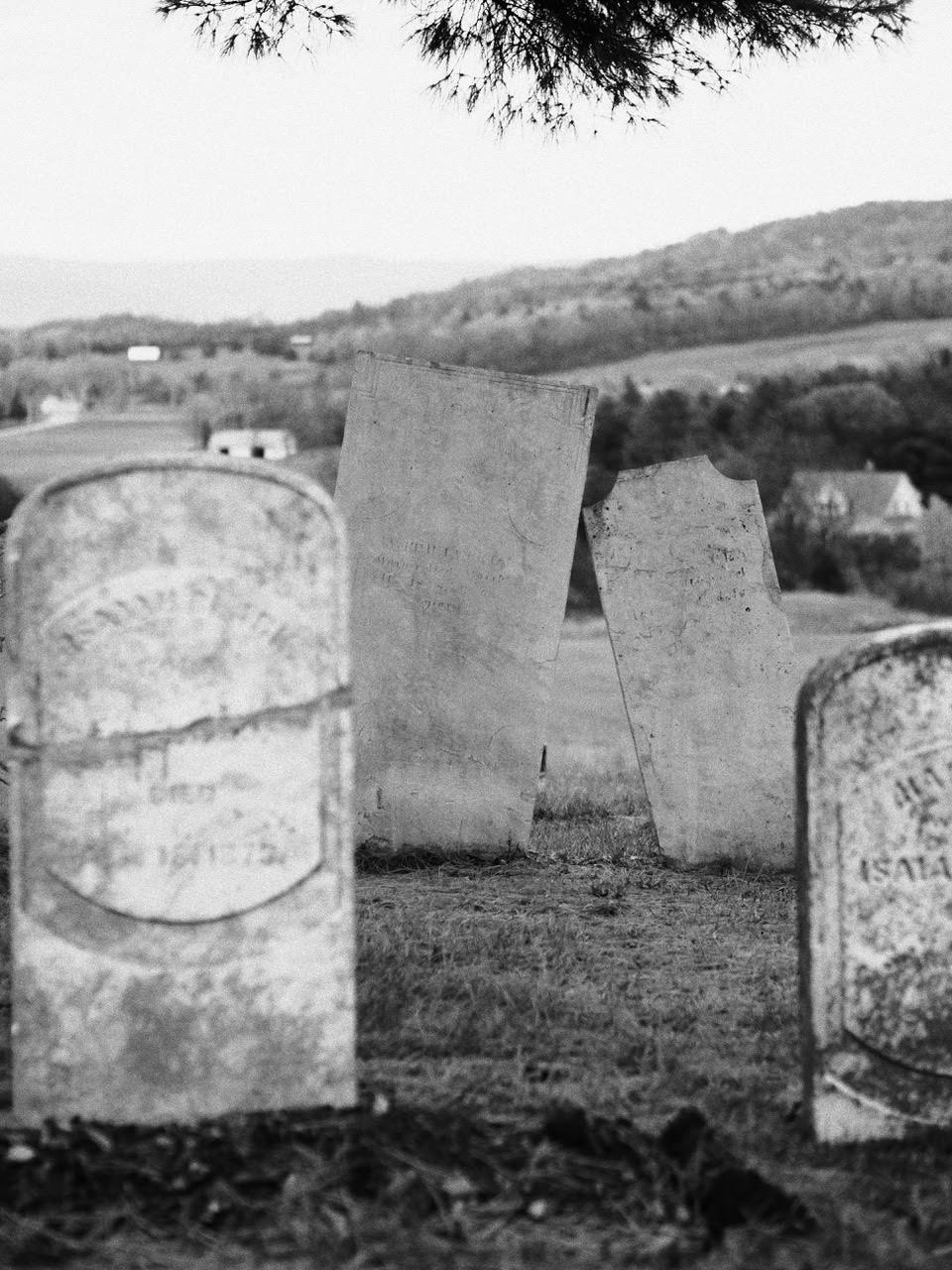 black and white headstone photo