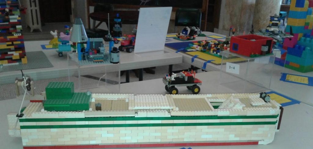 Lego compositions on a table.